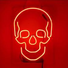 Custom Skull Glass Neon Light Teken Bier Bar