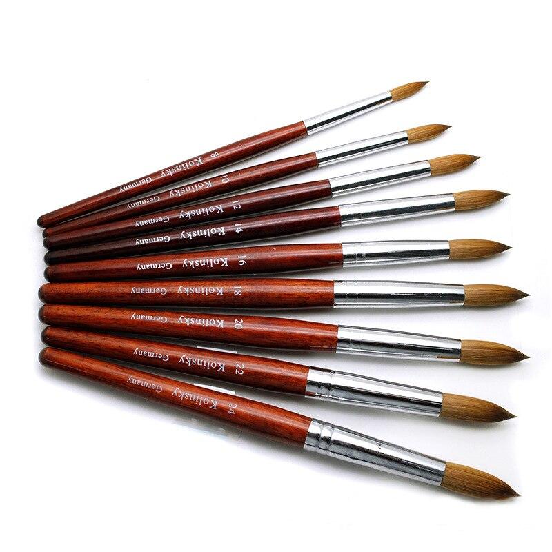30% Kolinsky Acrylic nail Brush Set Good Quality Nail Art Mink Brush Wood Handle Gel Builder Manicure Brushes Drawing Tools