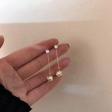 цена на Simple Long Zircon Pearl chandelier earrings  for women dangle  drop trendy  african  rhinestone earrings