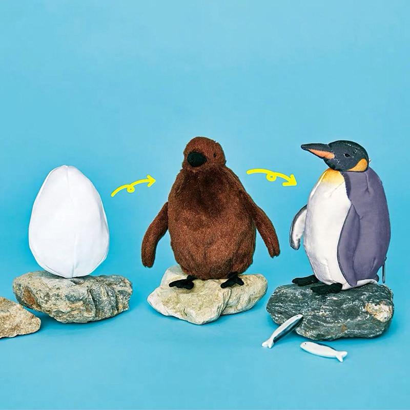 18cm de 3 en 1 pingüino de juguete de peluche de crecimiento de peluche de proceso de cambio de pingüino de nacimiento acuario pingüino Animal relleno de la muñeca