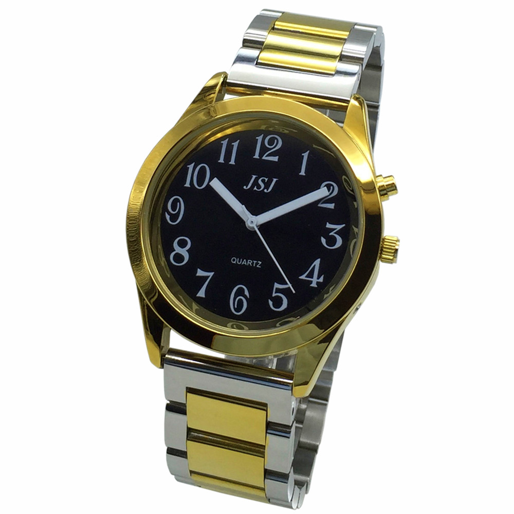 French Talking Watch With Alarm Function, Talking Date And Time, Black Dial, Folding Clasp, Golden Case TAF-805