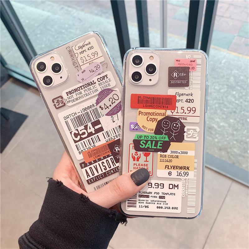 Luxury clear stamp label barcode Phone Case For Xiaomi Redmi Note 10 9 8 Pro Note7 8t 9s 9 lite Back Cover fashion soft cases
