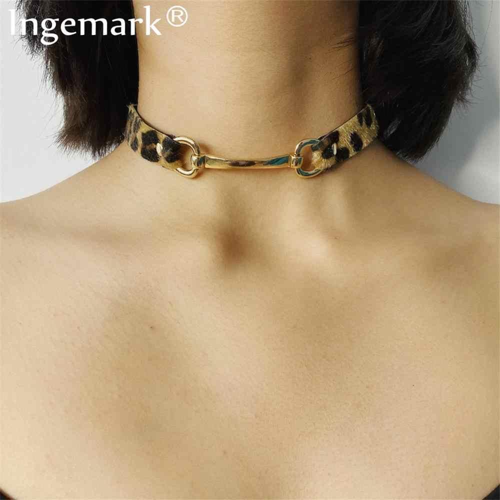 Conception Unique velours chaîne collier collier déclaration Steampunk gothique Hip Hop imprimé léopard collier ras du cou femmes bijoux fous