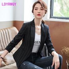 2019 autumn new Korean fashion temperament casual womens shirt striped small suit jacket