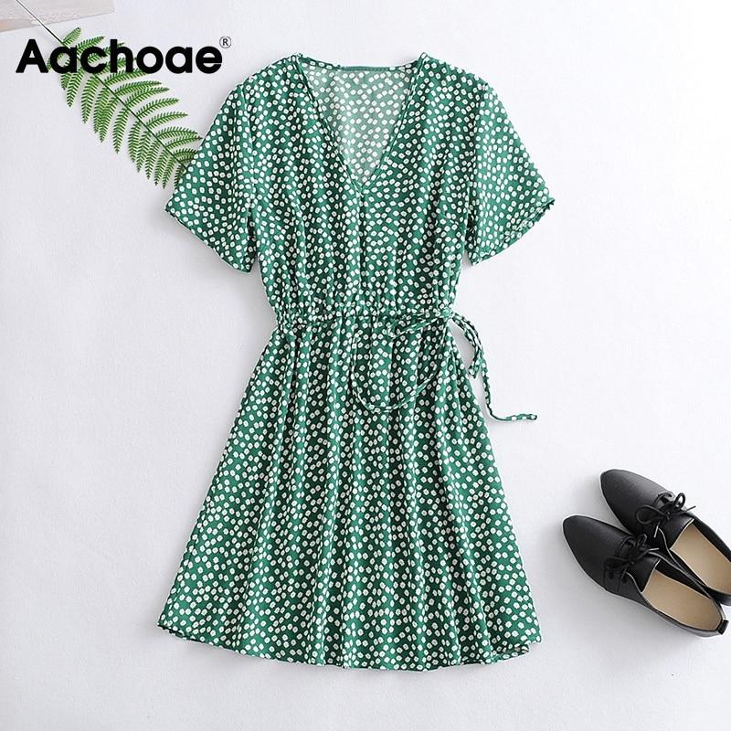 Aachoae Casual V Neck Floral Print Dress Women Summer 2020 Short Sleeve Mini Dress With Belt Beach Dress Sundress Robe Femme