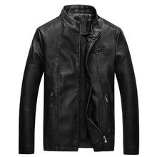 Mens leather winter new slim mens washed PU motorcycle jacket