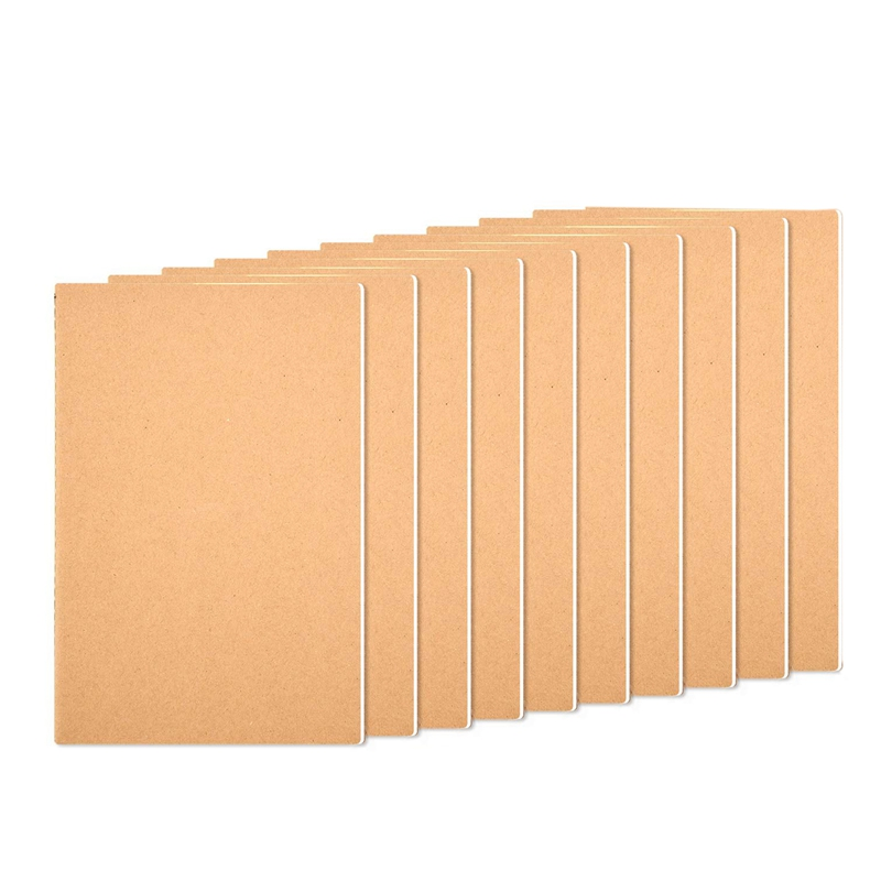 10 Pcs Notebook Journals For Travelers Kraft Brown Cover Notepad, A5 Size Paper (21.5x14.5Cm), 30 Sheets/60 Blank Pages (Blank)