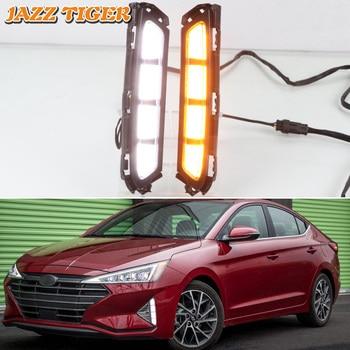 JAZZ TIGER Turn Yellow Signal Function Car DRL Lamp 12V LED Daytime Running Light Daylight For Hyundai Elantra Avante 2019 2020