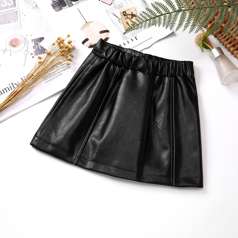 Kids Leather Skirts for Spring Girls Casual Mini PU Leather Skirt Teenager Girl Faux Leather Skirt for Autumn Children 110-160cm 4