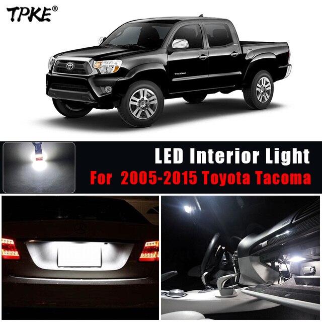 Tpke 8 pces acessórios do carro branco interior lâmpadas led pacote kit para 2005 2015 toyota tacoma mapa dome lâmpada da placa de licença
