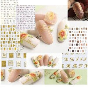 Image 1 - Mais novo WG 637 642 inglês alfabeto 3d etiqueta da arte do prego decalque do prego carimbo exportação japão projetos strass decorações