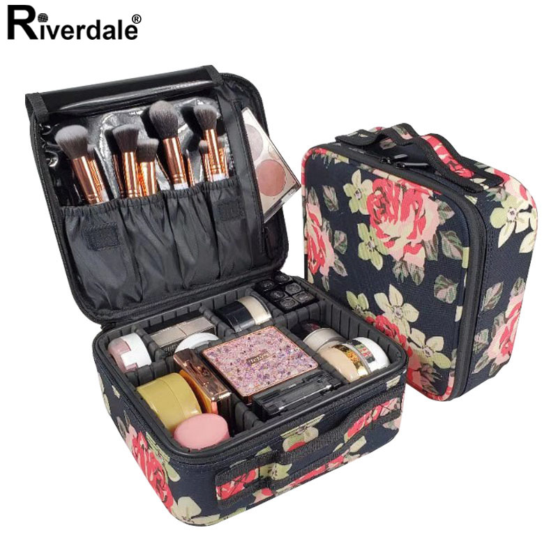Rose Flower Professional Makeup Case Full Beautician Travel Suitcase For Manicure Need Women Cosmetic Bag Organizer For Female