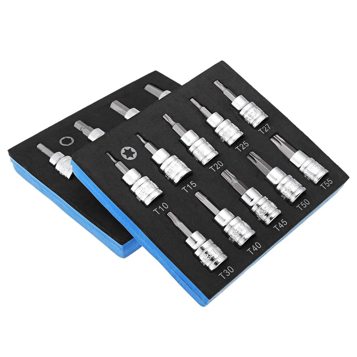 9/10Pcs 3/8 Inch Drive Socket Set T10-T55 Torx Socket H2-H10 Hex Socket Bit Set Universal Socket Metric Repair Power Tool Kit