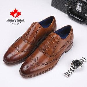 Image 1 - DECARSDZ גברים מלא גרגרים עור אמיתי נעלי גברים מותג אוקספורד גברים נעלי אופנה חדש יוקרה שמלת נעלי גברים פורמליות נעליים