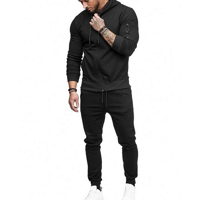 Fashion Men Drawstring Sportwear Set Fashion Solid Sweatshirt&Pants Tracksuit Casual Zipper Hoodies Outwear Clothes Nice