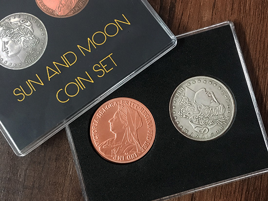 Sun And Moon Coin Set Magic Tricks Close Up Magia Coin Appear/Vanish Magie Mentalism Illusions Gimmick Prop Coin Transposition