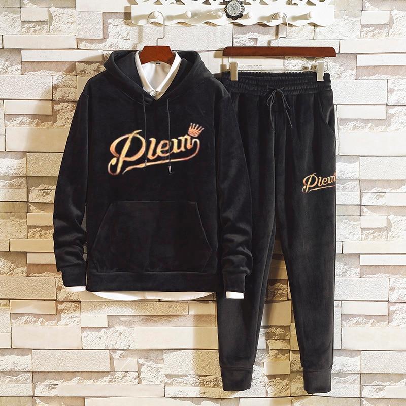 Men's Velour Velvet Sport Sweatshirt Tracksuit Track Suit Outwear 2PC Jacket Coat Pants Trousers Sets Outfits