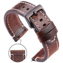 Genuine Leather Watchbands 18mm 20mm 22mm 24mm Black Dark Brown Women Men Cowhide Watch Band Strap Belt With Buckle cheap HENGRC 20cm New with tags pin buckle Black Dark brown Brown 4pcs spring and a small tool stainless steel