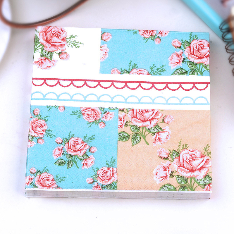 Rose Printed Napkin Paper Placemat Hotel Wedding Paper Party Atmosphere Paper Napkin Kleenex A Generation Of Fat