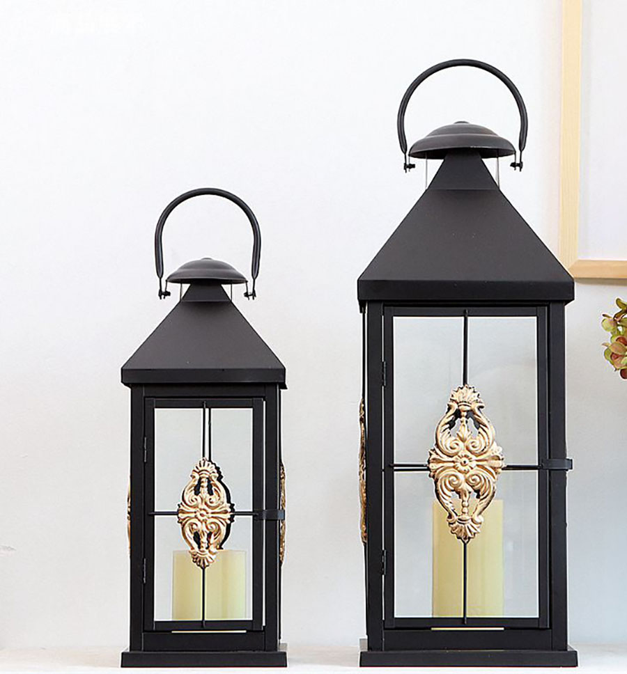 Wind Lamp Black Candle Holder Decoration Candle Holders Candlestick Candle Lantern Weeding Decoration Weddings Home Decor 50X195 - 6