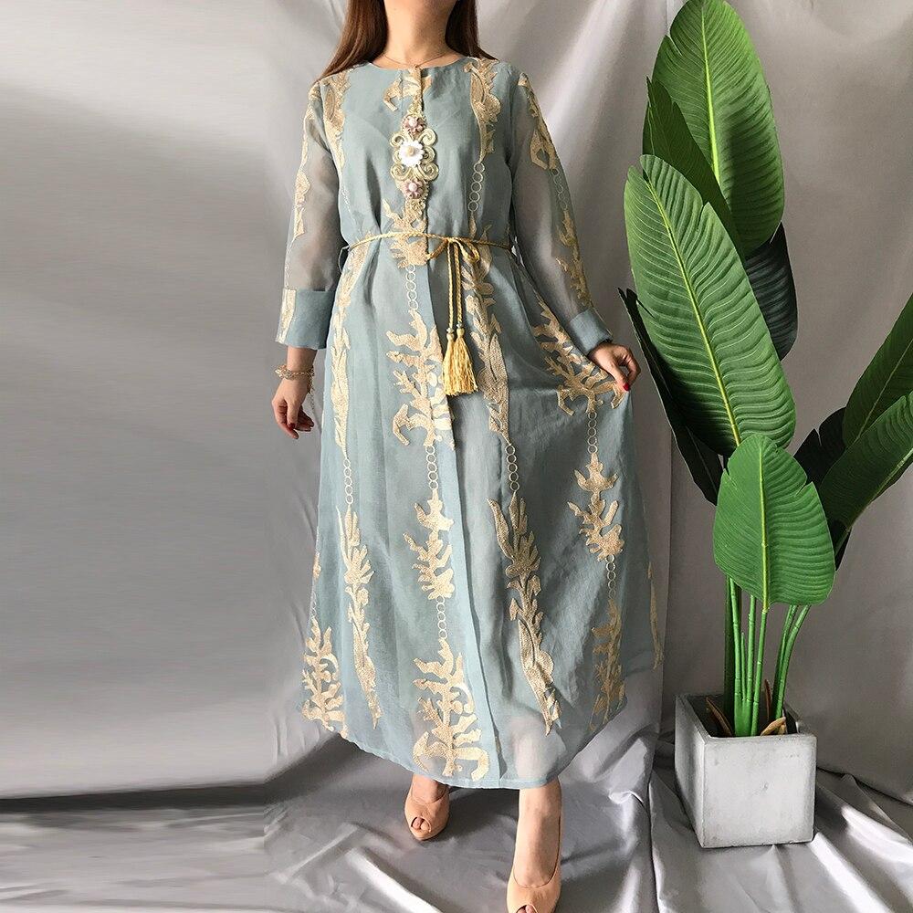 Siskakia/длинное платье с вышивкой в этническом стиле, расшитое бисером, свободное платье средней длины с круглым вырезом и длинными рукавами, с...
