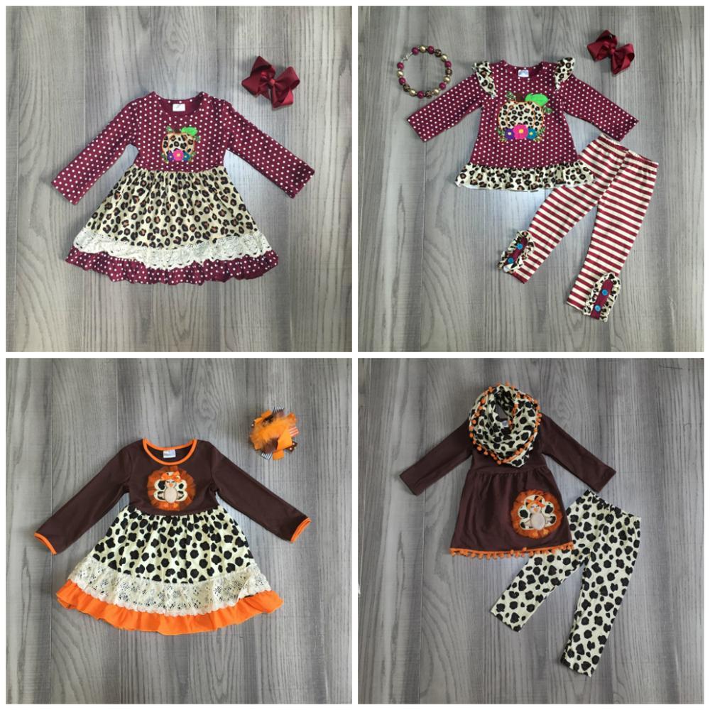 Бутик детской одежды для девочек на День Благодарения винный Леопард Тыква