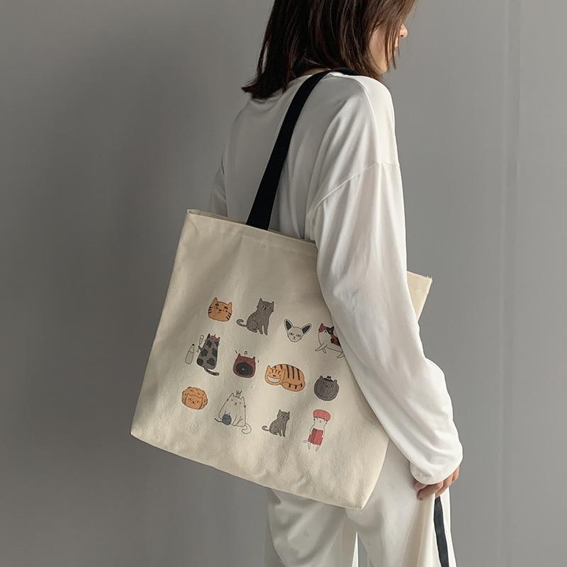 Большая Холщовая Сумка-тоут для женщин 2020 эко многоразовая сумка через плечо для покупок японский мультяшный Кот дорожная хлопковая ткань ...