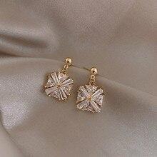 цена на Classic Crystal Square Women Dangle Earrings Simple Zircon Geometric Earrings Female Fashion Earrings For Women Statement