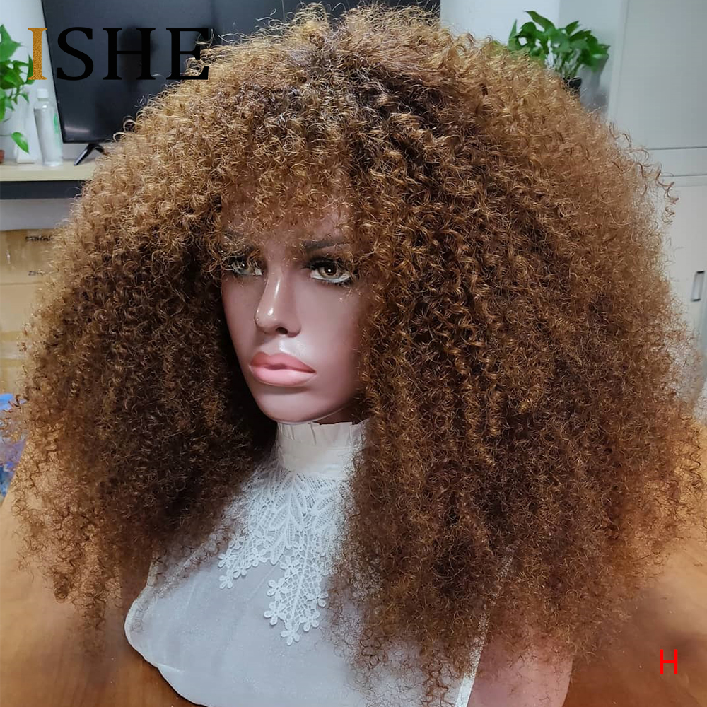 Afro Kinky Curly Wig With Bangs 13x6 Lace Front Human Hair Wigs Colored Human Hair Wigs For Black Women Pre Plucked Remy 150