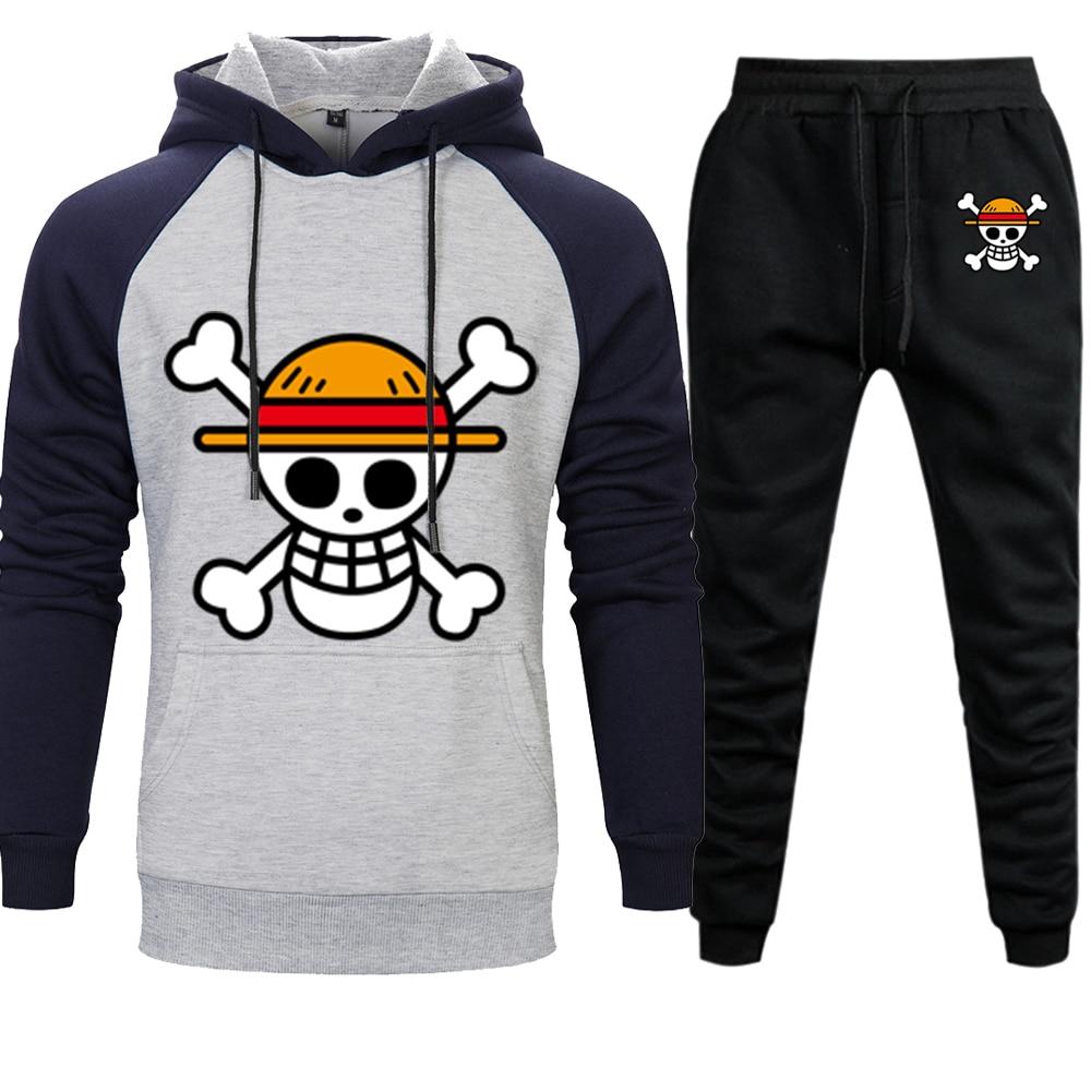 One Piece Anime Mens Sets Hoodies Pants Skull Luffy Hoody Sweatshirt Pant 2019 Autumn Winter Casual 2 Pieces Sweatpants Hoodie