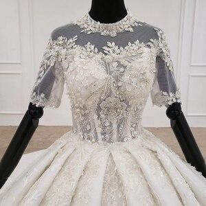 Image 4 - HTL1231 2020 lace wedding dress high neck half sleeve applique beading  crystal lace upback  bride dressing gown suknie slubne