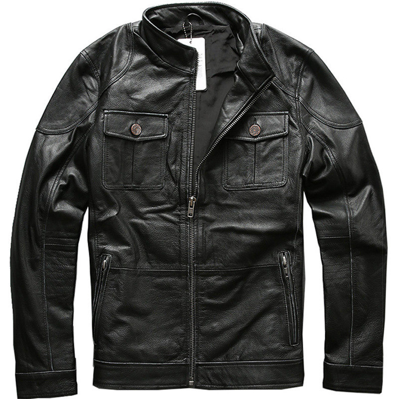 AVIREXFLY 2020 Men Genuine Leatehr Jacket 100% Real Casual Riding Jackets Thick Cowskin Motorcycle Winter Coats