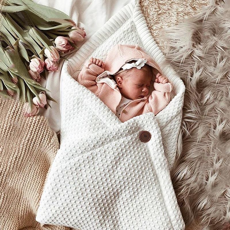 Baby Sleeping Bag Envelope Knitted Swaddle Wrap Newborns Infant Button Sleep Sack Stroller Wrap Toddler Blanket Sleeping Bags