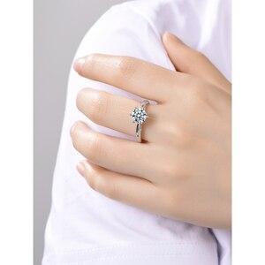 Image 2 - Классическое серебряное кольцо Moissanite, 1 карат, IJ, ювелирное изделие с цветными бриллиантами Lab, ювелирное изделие в простом стиле, кольцо на годовщину