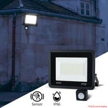 Pir ao ar livre sensor de movimento lâmpada parede led holofote balck 50w 100 30 20 10 ip66 220v foco led pendurado jardim exterior luz