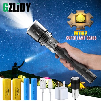 Super Bright LED Flashlight with MTG2 Powerful Lamp Bead Tactical Torch USB Input&Output Function Waterproof Zoom Hunting Light
