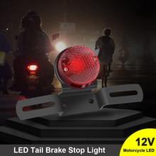 SUHU LED de la motocicleta de la rojo Retro freno trasero luz de freno W/montura de placa de matrícula para Harley Honda Suzuki helicóptero Bobber 12V 12V