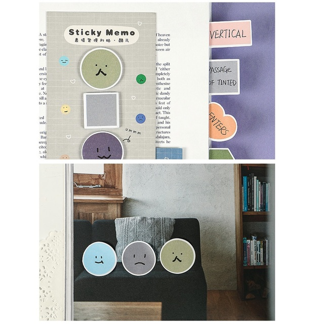 6pcs Mini Face Color Adhesive Memo Pad Cute Emotion Sticky Note Post Label Planner Sticker Book Marker It Office School A6001