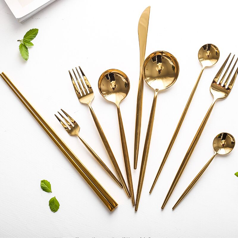 Mirror Gold Cutlery Set 18/10 Stainless Steel Silverware Tableware Set Service Bright Chopstick Forks Knives Spoons Dinner Set
