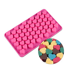 55 Holes Mini Heart Shape Silicone Freeze Party Drink Ice Mould Jelly Chocolate Mold Cube Cup Cake Decoration Tray for Party 15 cavity silicone drink ice cube pudding jelly cake chocolate mold mould tray set of 2 460001