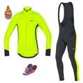 Мужская велосипедная футболка GORE, набор зимних тепловых флисовых Джерси с длинным рукавом, велосипедный комбинезон, гоночные Ciclismo Hombre, не в...