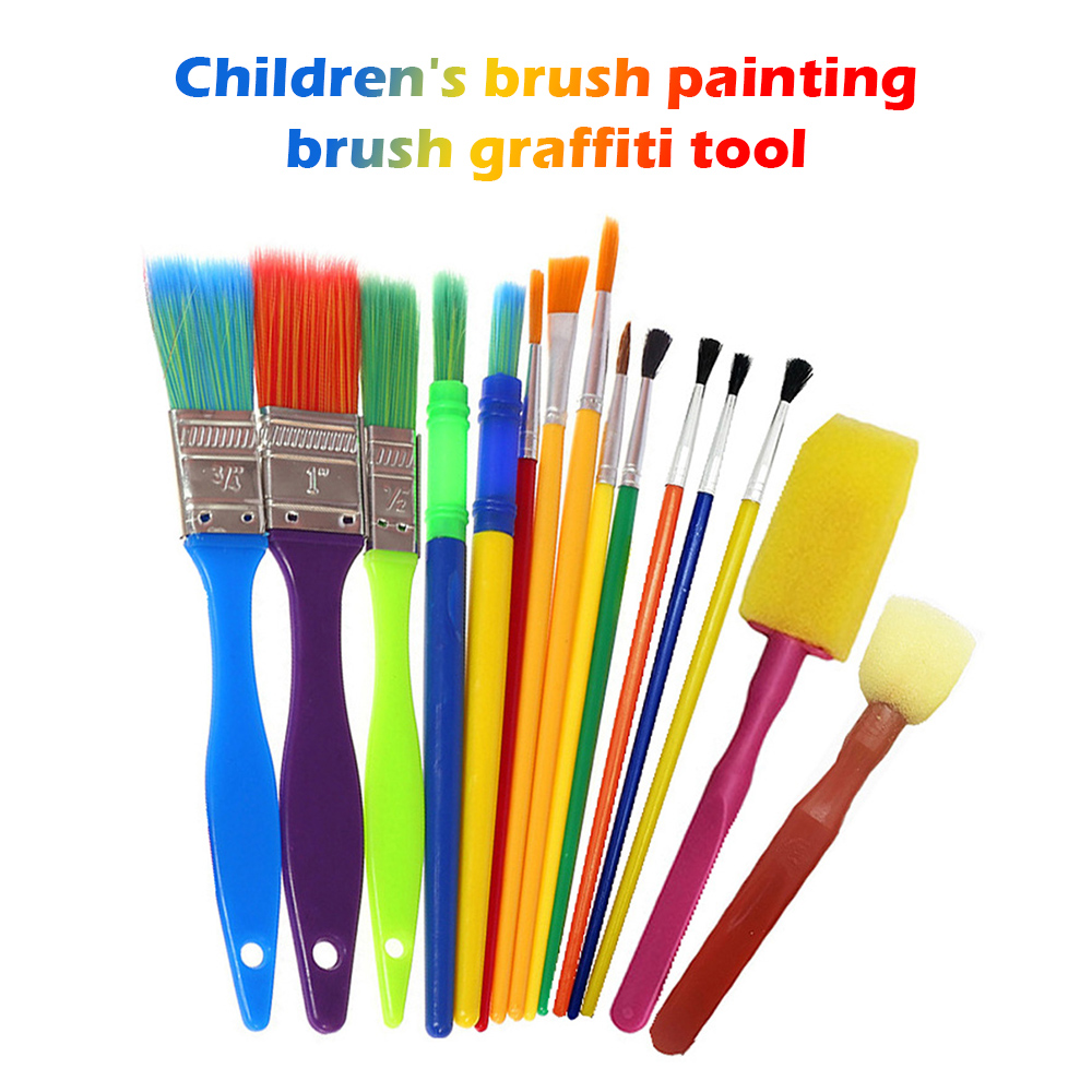 15Pcs Multicolor Art Paint Brushes Kits Childrens Paintbrush Sponge Brushes DIY Drawing Tools For Watercolor Oily Dyes Painting