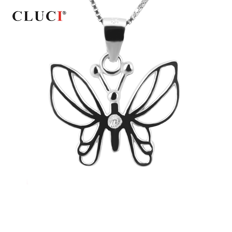 CLUCI Silver 925 Butterfly Pearl Pendant Mounting For Women Necklace Jewelry Making 925 Sterling Silver Charms Pendant Jewelry
