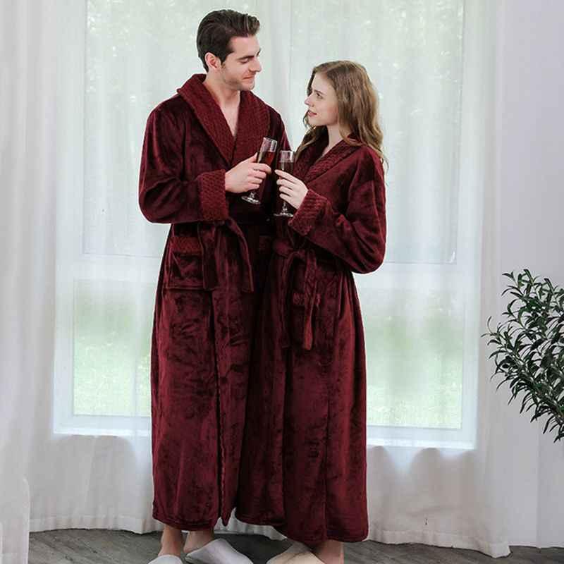 Inverno camicia da notte di flanella camicia da notte lunga XL di spessore uomini e donne paio di pigiama accappatoio comodo da sera yukata sposa veste