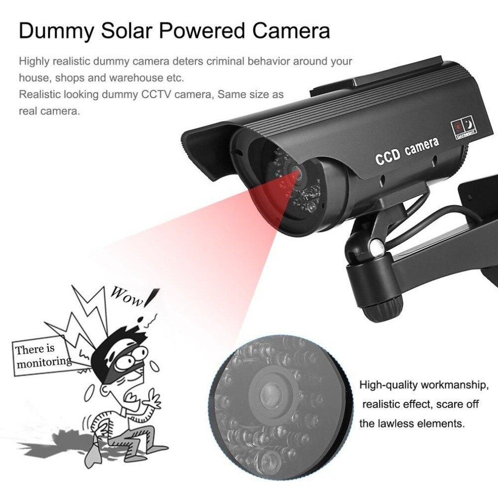 Пустышка Солнечная камера cctv высокая имитация поддельная камера Led красный свет мигает наружная домашняя камера видеонаблюдения