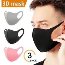 Máscaras de algodão de seda gelo reutilizável lavável mascarilla máscara facial esportes verão rosto boca à prova de poeira anti-uv máscaras cobrir máscaras pretas