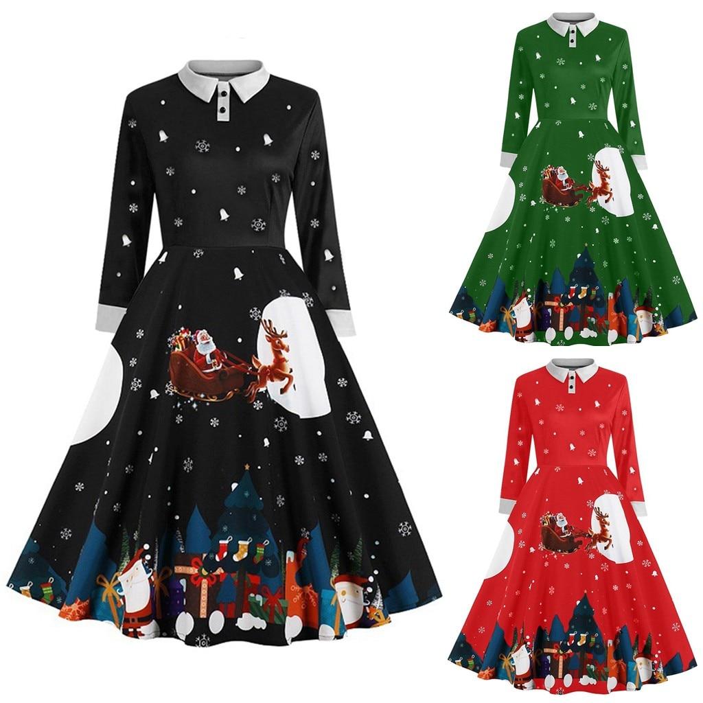 Vintage Dress Women Long Sleeve Print Christmas Dress Winter Elegant Swing Party Dresses Robe Femme Casual Innrech Market.com