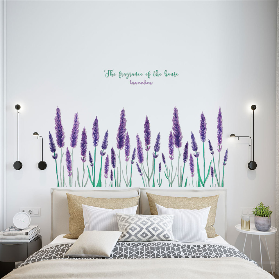 Purple Lavender Wall Sticker For Personality Tv Background Living Room Bedroom Decor Wallpaper Self Adhesive Removable Diy Mural Wall Stickers Aliexpress