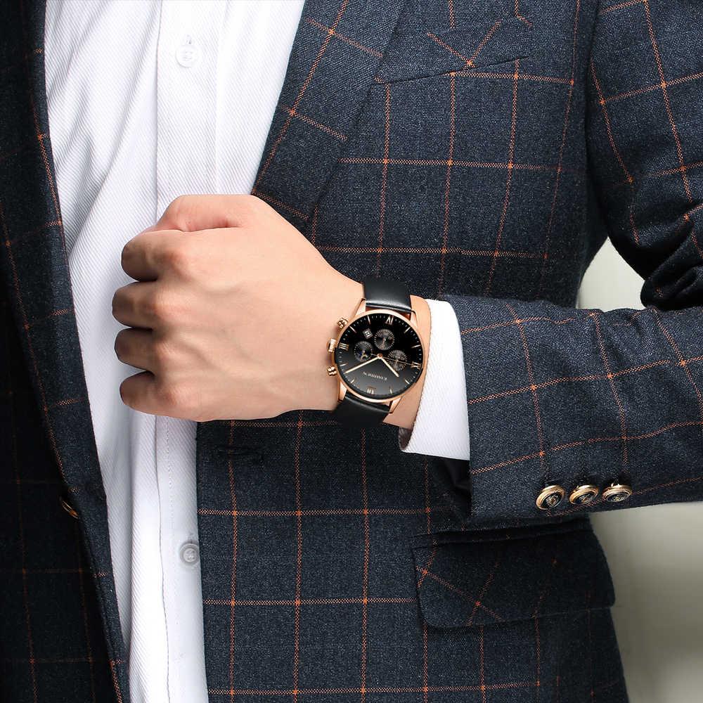 新作メンズウォッチ防水トップブランドの高級カレンダーファッション男性時計革 Sport 軍人腕時計レロジオ Masculino