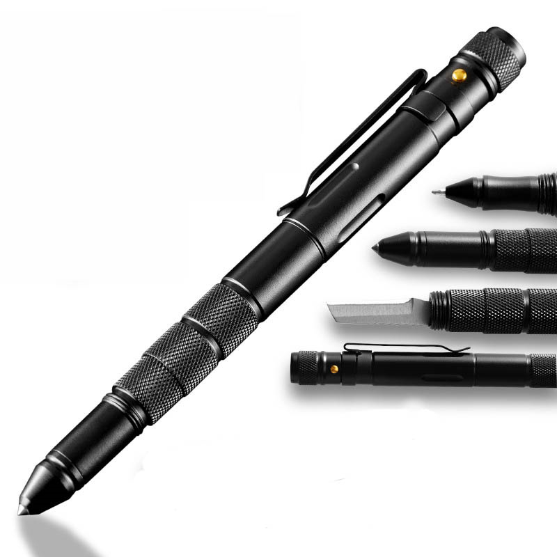 STRIKEPEN BLACK Tactical Pen Steel Alloy LED Flashlight Multi-function Tool 1